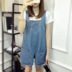 Dream Girl - Denim Dungaree Shorts