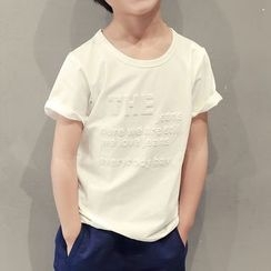 YOOYOO - Kids Lettering Short Sleeve T-Shirt