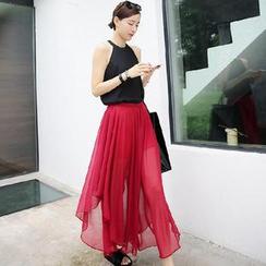 AIGIL - Inset Shorts Chiffon Long Skirt