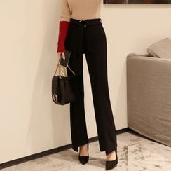 DABAGIRL - Belted Boot-Cut Dress Pants