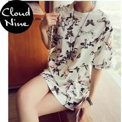Cloud Nine - Floral Print Long T-Shirt