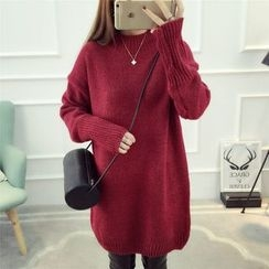 Dream Girl - Plain Mock Neck Sweater Dress