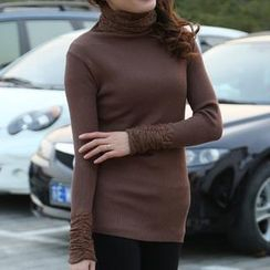 Cobogarden - Long Sleeved Lace Panel Sweater