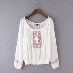 Ainvyi - Embroidered Tasseled Tie Long Sleeve Top