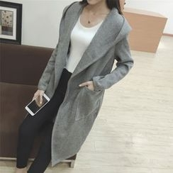 Sheeno - Hooded Open Front Coat with Sash