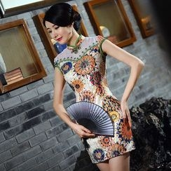 Montebelle - Patterned Lace Cap-Sleeve Cheongsam