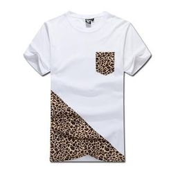 MR.PARK - Leopard-Print Panel T-Shirt