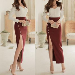 Lovi - Set: V-Neck Top + Slit Maxi Skirt