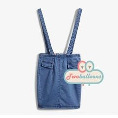 JVL - Pocket-Detail Denim Suspenders Skirt