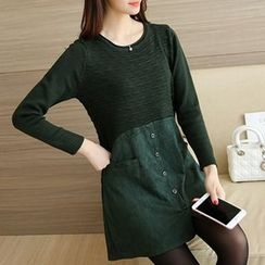 Ageha - Mock Two Piece Buttoned Long Sleeve Tunic