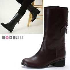 MODELSIS - Genuine Leather Zip-Up Boots