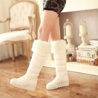 Pastel Pairs - Furry Trim Padded Tall Boots