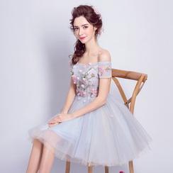 Angel Bridal - 露肩刺繡迷你禮服裙