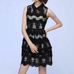 Liya Closet - Set: Embroidered Sleeveless Collared Mesh Dress + Window Pane Slipdress