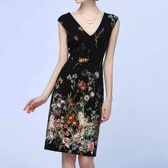 Liya Closet - Floral Print V-Neck Sleeveless Sheath Dress