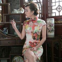 四小姐旗袍 - 蓋袖印花旗袍