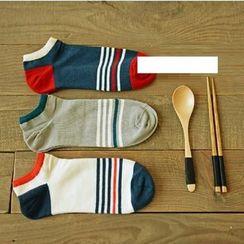 MITU - 條紋純棉薄款男船襪