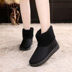 Charming Kicks - 針織拼接短筒雪靴