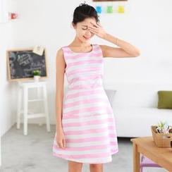 59 Seconds - Striped Sleeveless A-Line Dress