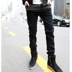 MR.ZERO - Two-Tone Distressed Slim-Fit Jeans
