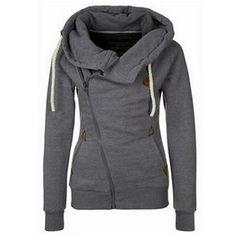 Fundae - Diagonal Zip Hooded Jacket