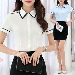 Pearlescent - Short-Sleeve Contrast Trim Shirt