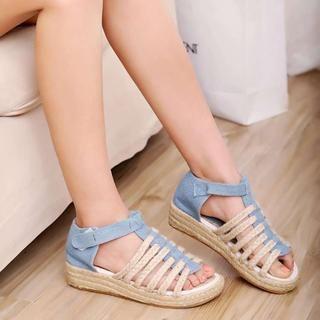 Pangmama - Denim Wedge Sandals