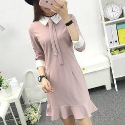 Cottony - Long-Sleeve Ruffle A-line Dress