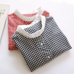 Bonbon - Gingham Band Collar Shirt