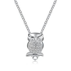 MBLife.com - Left Right Accessory - 9K White Gold Owl Diamond Pendant on Necklace, 16' (0.18 cttw)