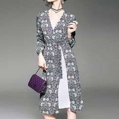 Alaroo - 印花假兩件A字連衣裙