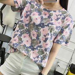 Magic Mirror - Floral Print Short Sleeve T-Shirt