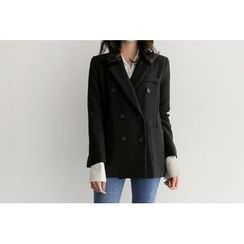 UPTOWNHOLIC - Padded-Shoulder Double-Breasted Notched-Lapel Jacket
