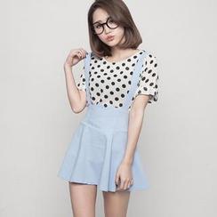 CUTIE FASHION - High-Waist Suspenders Skirt