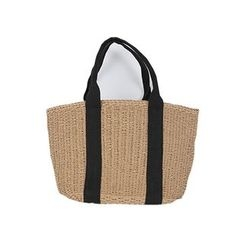 DABAGIRL - Contrast-Handle Straw Tote