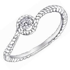 MaBelle - 18K白色黄金精致圆形钻石扭纹戒指 (约0.07卡)