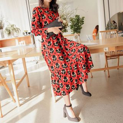 PPGIRL - Patterned A-Line Long Dress