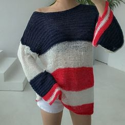 migunstyle - Round-Neck Color-Block Knit Top
