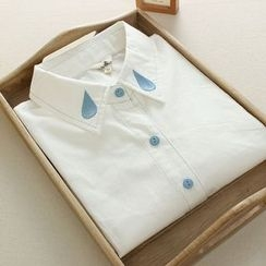 Mushi - Long-Sleeve Water Drop Embroidered Shirt