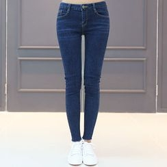 DANI LOVE - Fray-Hem Brushed-Fleece Lined Skinny Jeans