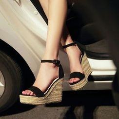 TULASI - Faux-Suede Woven Wedge Sandals
