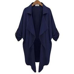 Eloqueen - Tab-Sleeve Diagonal-Hem Trench Coat