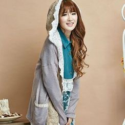 Blue Hat - Lace-Panel Hooded Cardigan