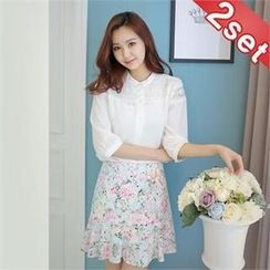 Styleberry - Set: Lace-Trim Blouse + Floral Print Mini Skirt