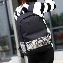 Miss Sweety - Printed Panel Canvas Backpack