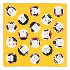 cochae - cochae : Kokeshi Face Furoshiki Wrapping Cloth (Japanese Mustard Colour) (50cm)