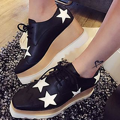 Siya - Star Print Platform Lace-Up Shoes