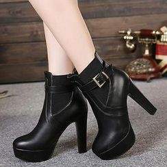 Mancienne - Buckled High-Heel Ankle Boots