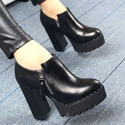 Forkix Boots - Platform Chunky Heel Ankle Boots