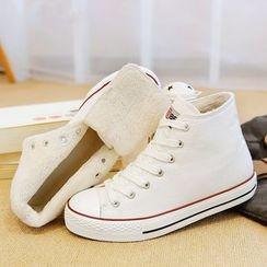 Renben - Fleece-lined High-top Canvas Sneakers